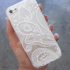 IPHONE 5 5S Plastic Cover Case - WHITE FLORAL PAISLEY