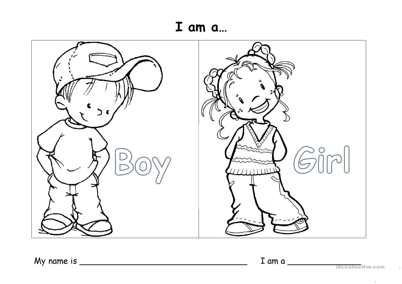 I Am A Boy Gir Worksheet