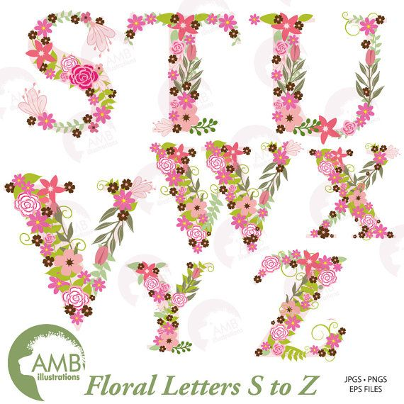 Floral Alphabet Clipart Alphabet Clipart Letters S To Z  Clip Art
