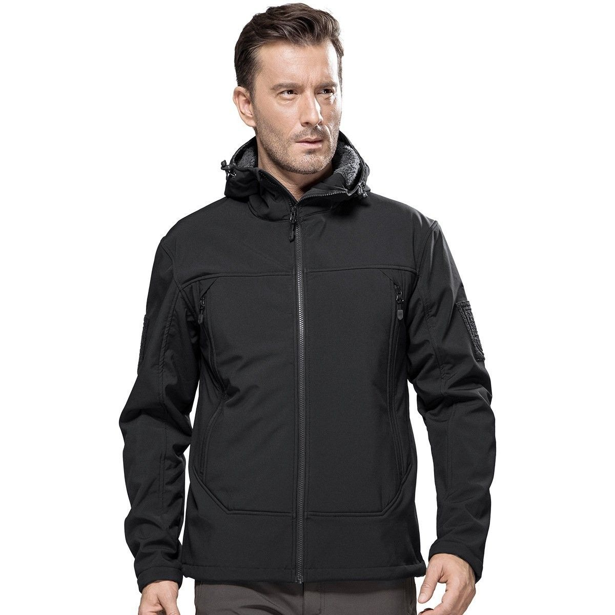 Men S Tactical Jacket Outdoor Fleece Lining Softshell Jacket For Hiking Black Cj186tc7nl9 Tactical Jacket Mens Outfits Soft Shell Jacket [ 1200 x 1200 Pixel ]