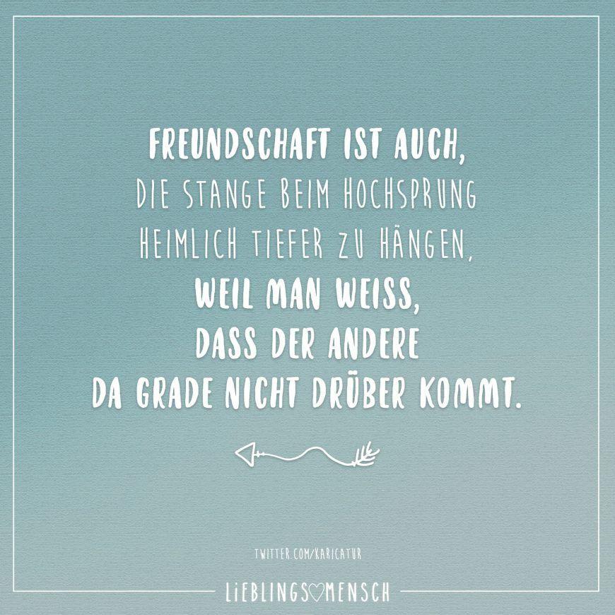 Freundschaft ist auch, die Stange beim Hochsprung heimlich tiefer