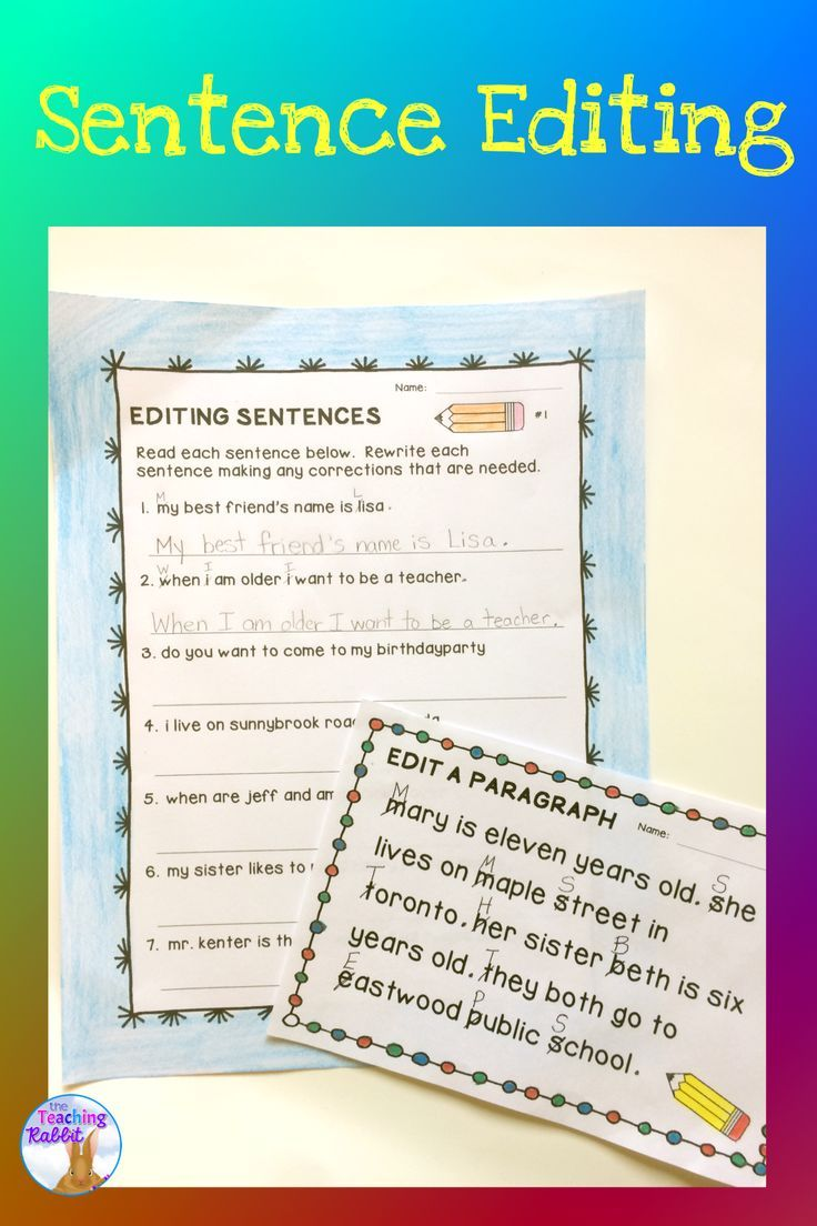 worksheet Editing Sentences Worksheets sentence editing punctuation paragraph and sentences this resource for second grade has posters worksheets task cards and