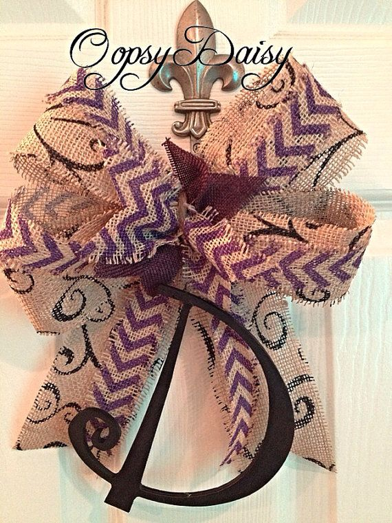 Initial wreath bow chevron burlap bow chevron by OOPSYDAISYDESIGNS, $20.00
