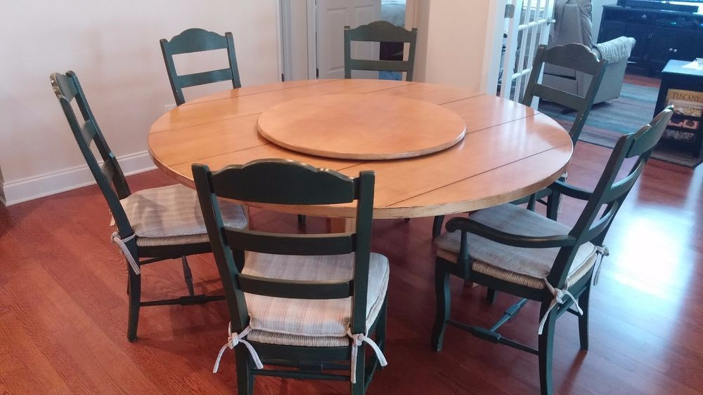 Dining Set Drexel Heritage 68 Round Table 34 Lazysusan 6 Chairs Dining Set Table Dining