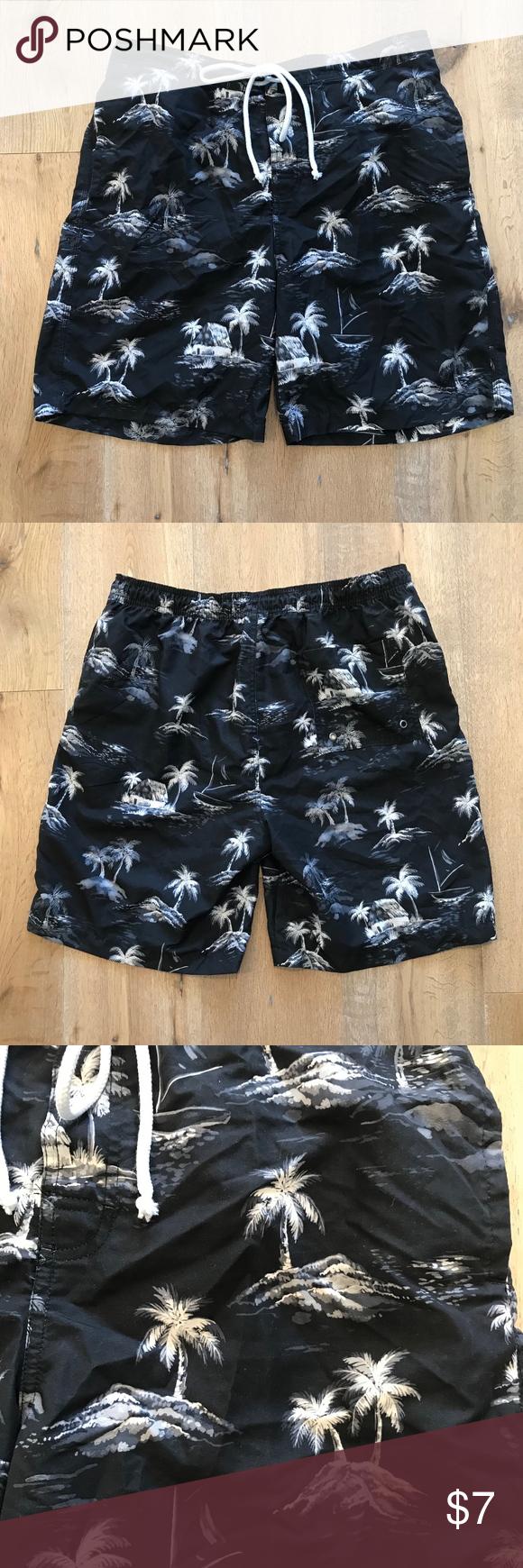 512f7f6442 Merona Island Palm Tree Beach Swim Trunks Target brand Merona bathing suit  swim for pool or
