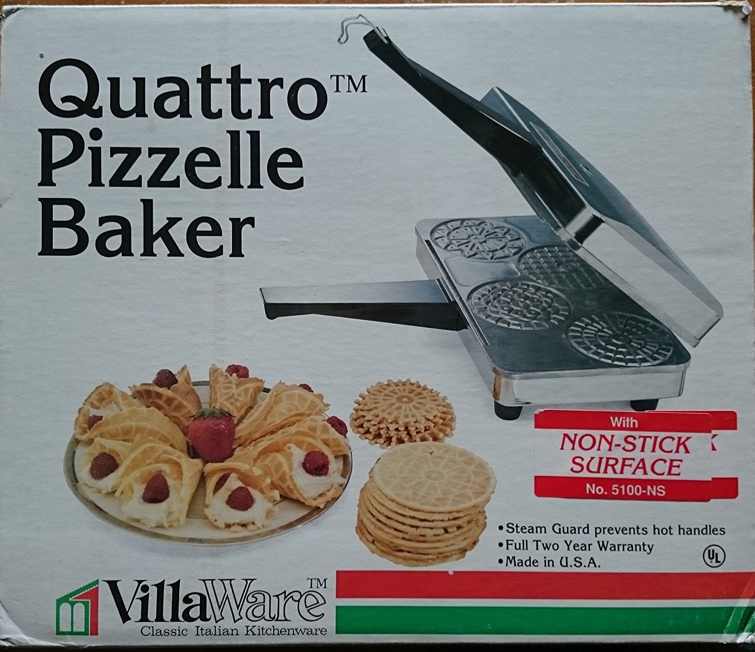 Villaware Quattro Pizzelle Cookie Maker Baker 5100-ns -- Check out ...