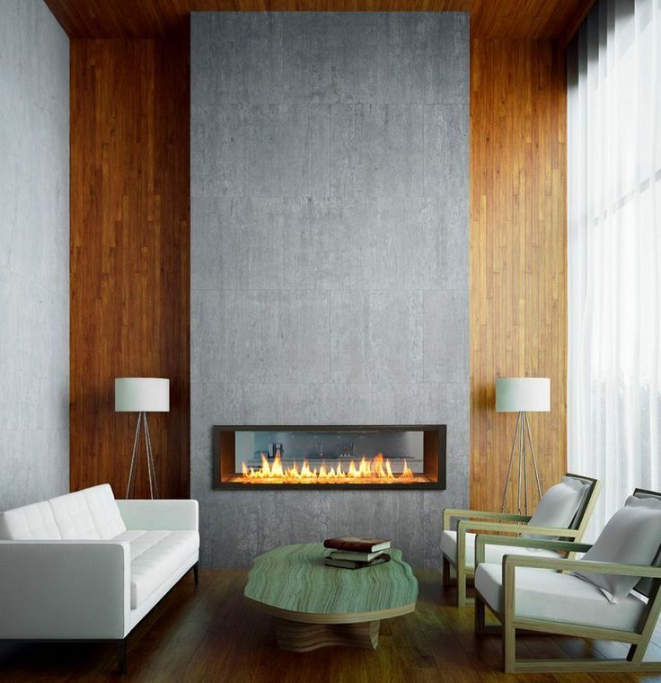 Long narrow gas fireplaces can look super elegant and streamline ...