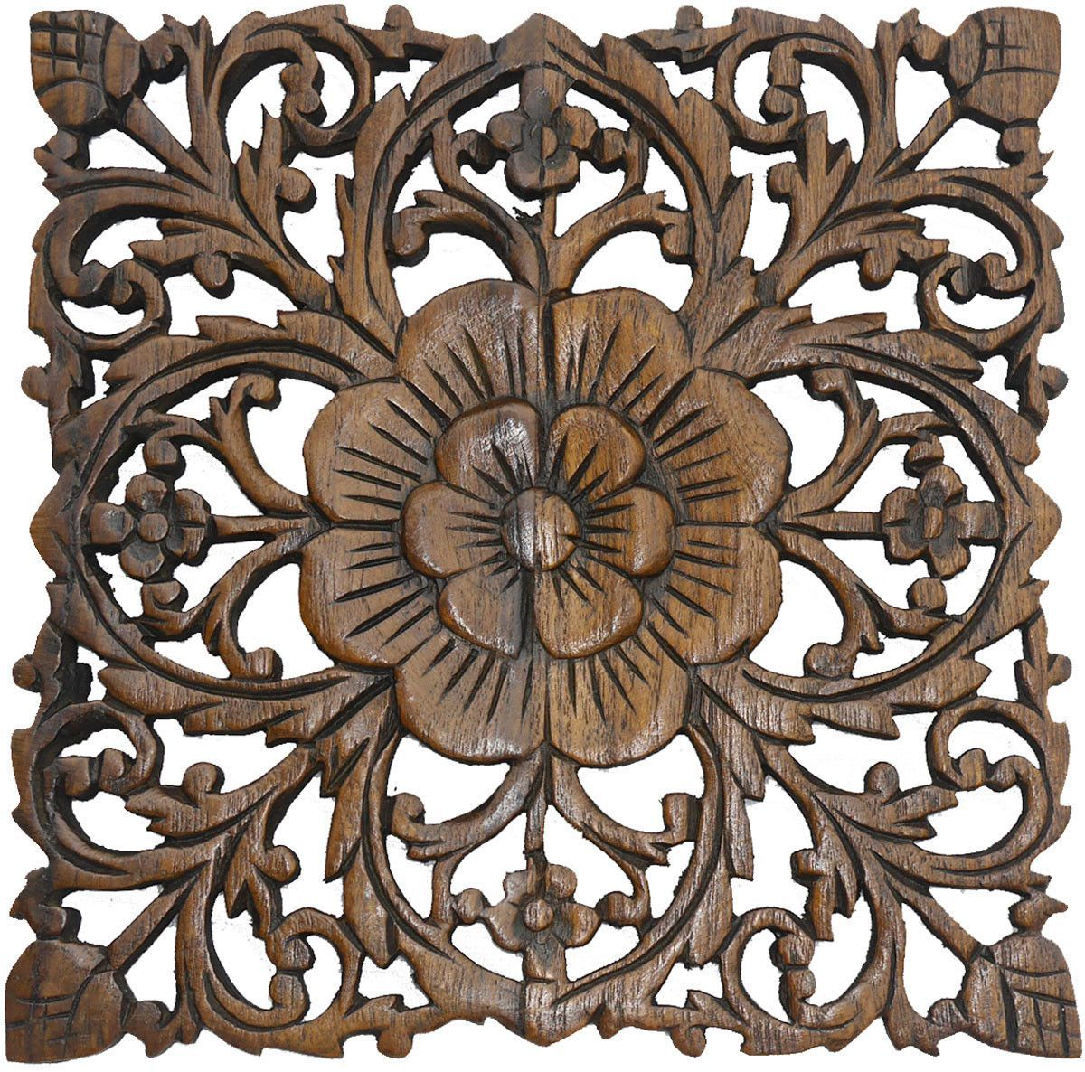 Wood Decorative Wall Art Wood Plaque Oriental Carved Lotus Rustic Wall Decor Hand
