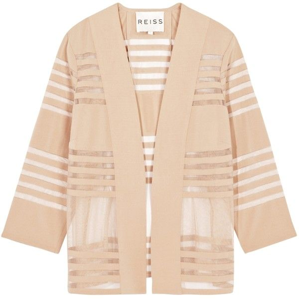 Reiss Christy Sheer Stripe Cover Up, Nude ($175) ❤ liked on ...