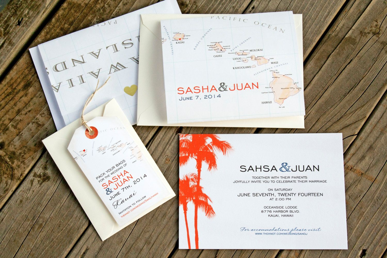 Hawaiian Islands Map Wrap Wedding Invitation Tropical by mavora ...