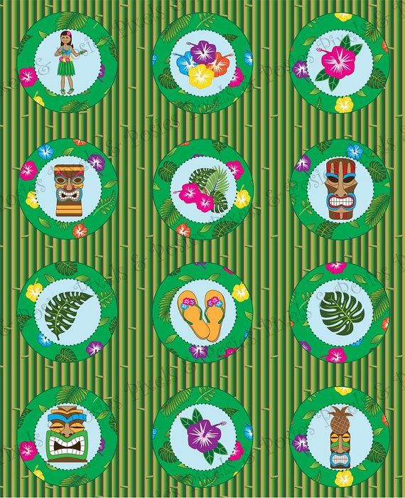 Cupcake Toppers / Gift or Favor Tags, Square or Round - Print Your Own Hawaiian Luau Party #hawaiianluauparty Cupcake Toppers / Gift or Favor Tags Square by pixelsandposies #hawaiianluauparty