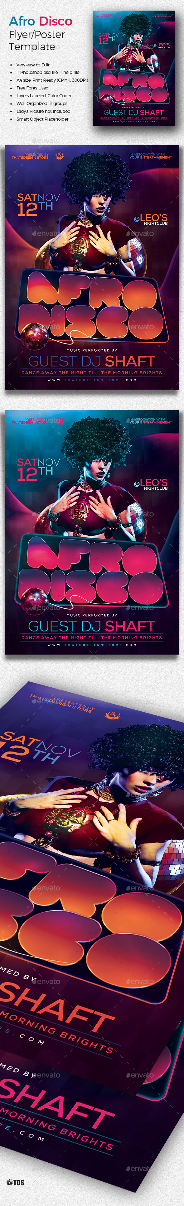 Afro Disco Flyer Template  Flyer Template Discos And Template