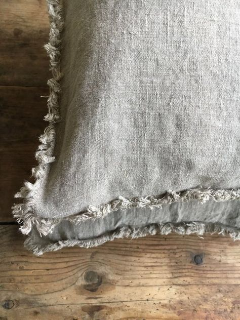 Set of Two Natural Linen Pillowcases with Frayed Edges, Frayed Pillowcases, Country Linen Pillowcases Sham, Queen, King, Standard Rustic