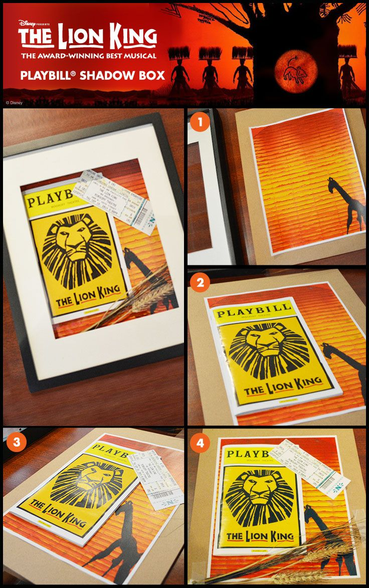 You could do this with any show ;) - Keep all of your Lion King memories in one place with this Playbill Shadowbox!