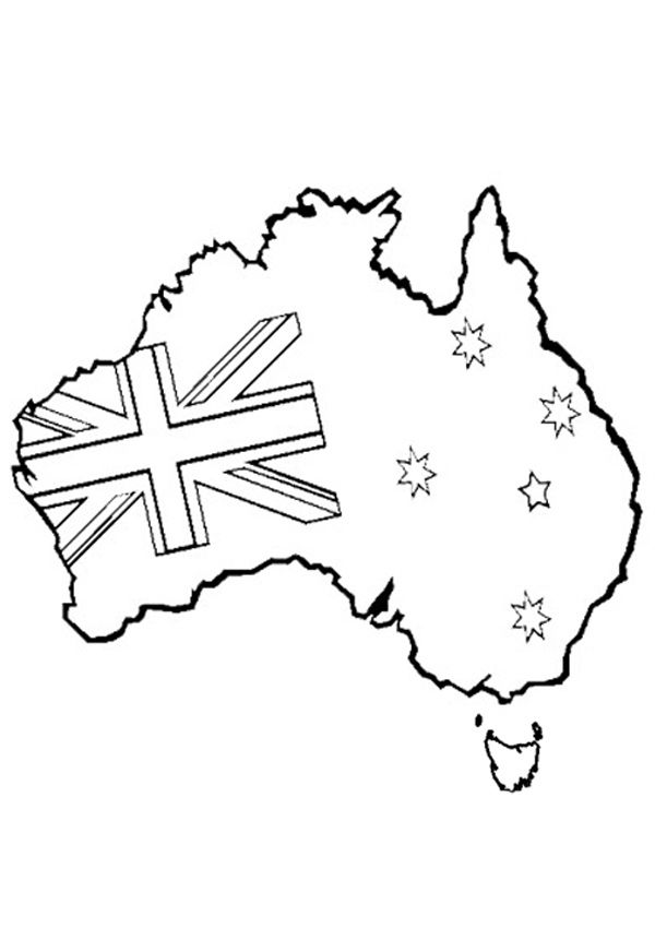 Free Online Printable Kids Colouring Pages Australian Map
