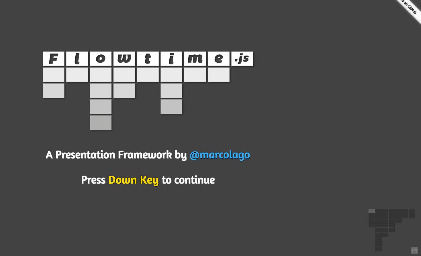 https://github.com/marcolago/flowtime.js - Flowtime.js is a framework for easily build HTML presentations or websites.