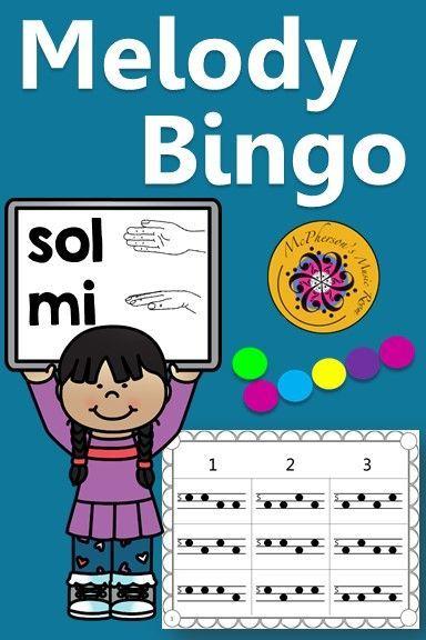 Melody Bingo Game Sol Mi X Grid  Elementary Music Bingo