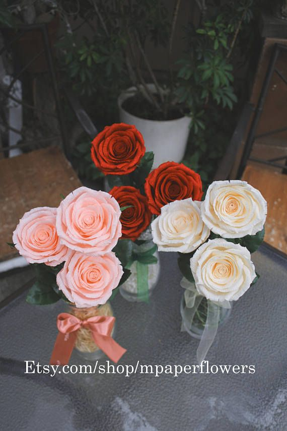 Paper Roses With Glass Vase Life Is Beautiful Mpaperlfowers Paper Roses Crepe Paper Roses Rose