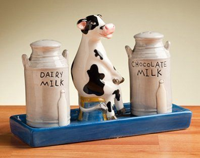 Cow & Milk Can Salt & Pepper Shakers With Tray Ceramic by Popular Creations, http://www.amazon.com/dp/B004A0UD6M/ref=cm_sw_r_pi_dp_FGCXqb0QHT0A3