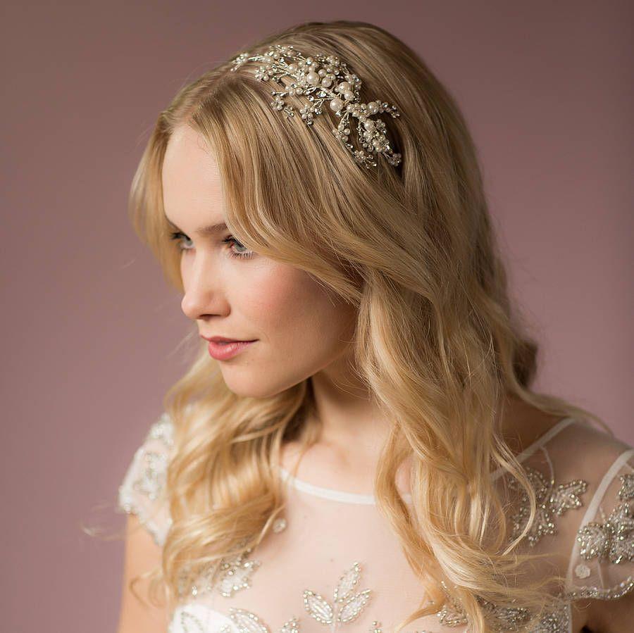 darcey pearl headband with swarovski crystals   swarovski, pearls
