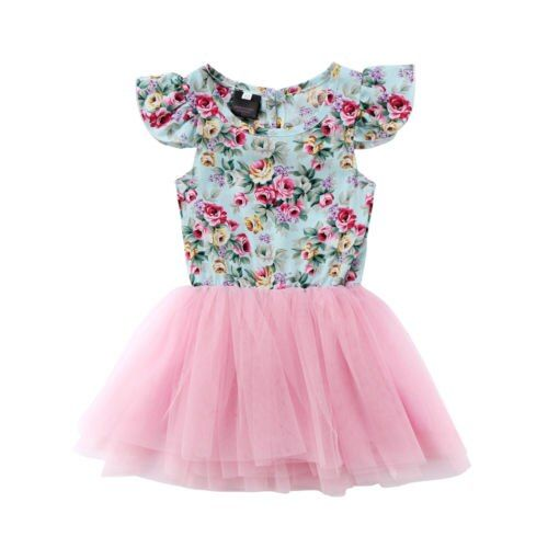 Kids Baby Girls Lace Patchwork Flower Dress Party Dresses Lace Party Dress