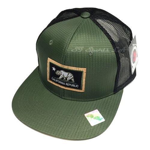 2e08b167a2c California Republic Hat PATCH Snapback CALI Mesh Trucker Baseball Cap Army  Green