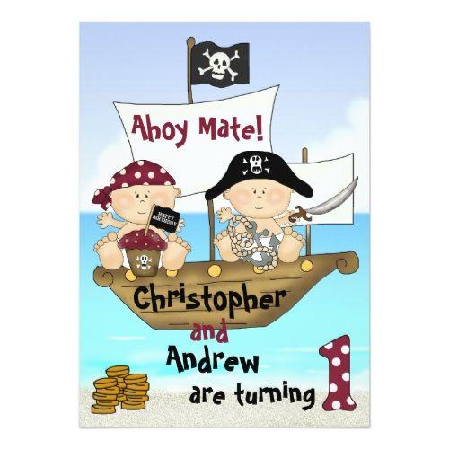 Pirate birthday invitations twins little buccaneer 1st birthday pirate birthday invitations twins little buccaneer 1st birthday pirate invite filmwisefo
