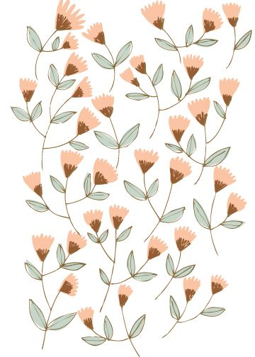 Denise Holmes. This can be easily embroidered on a pillow using coral stitch, straight stitch and stem stitch! #flowerpatterndesign