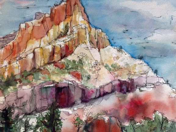 """Staircase Mountain, Torrey"" watercolor ink and wash, plein air, by Colleen Reynolds"