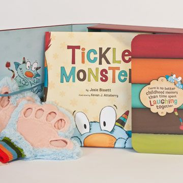 Here's everything you need to bring loveable Tickle Monster to life for your kids with this delightful kit. Slip your hands into the super-soft fluffy blue mitts and start reading and tickling.  / Tickle Monster Laughter Kit / live-inspired.com