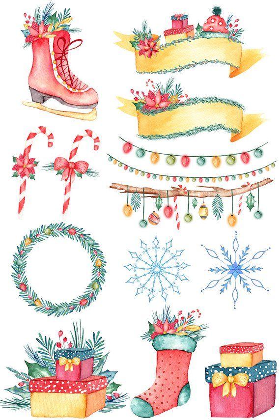 Christmas Illustrations Png.Watercolor Christmas Clipart Christmas Illustrations Floral