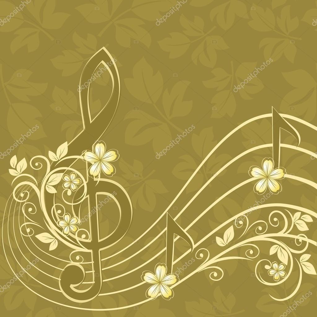 Скачать - Музыкальный фон с скрипичном и цветочным узором ...