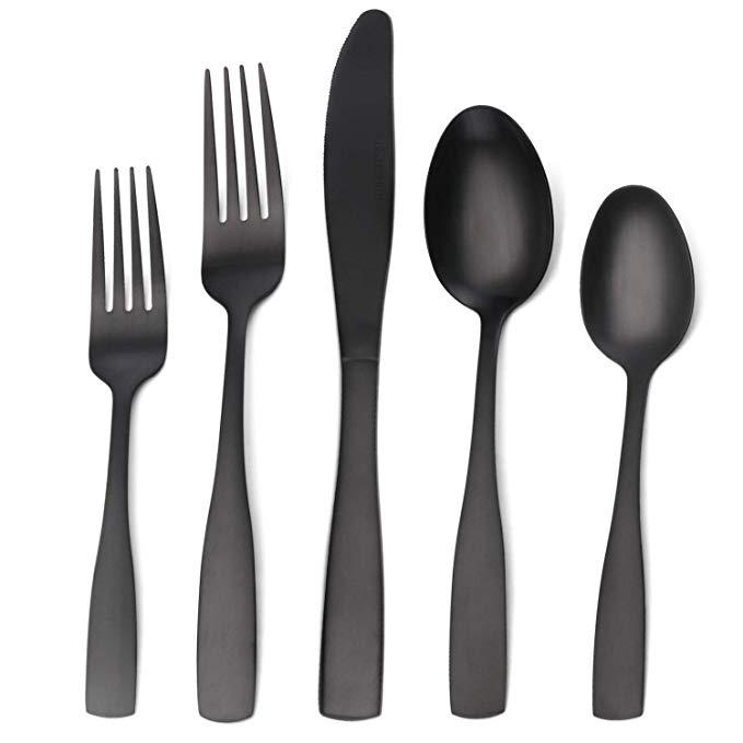 Amazon Com Matte Black Silverware Set Satin Finish 20 Piece Stainless Steel Flatware Set Silverware Set Black Kitchen Decor Stainless Steel Kitchen Utensils
