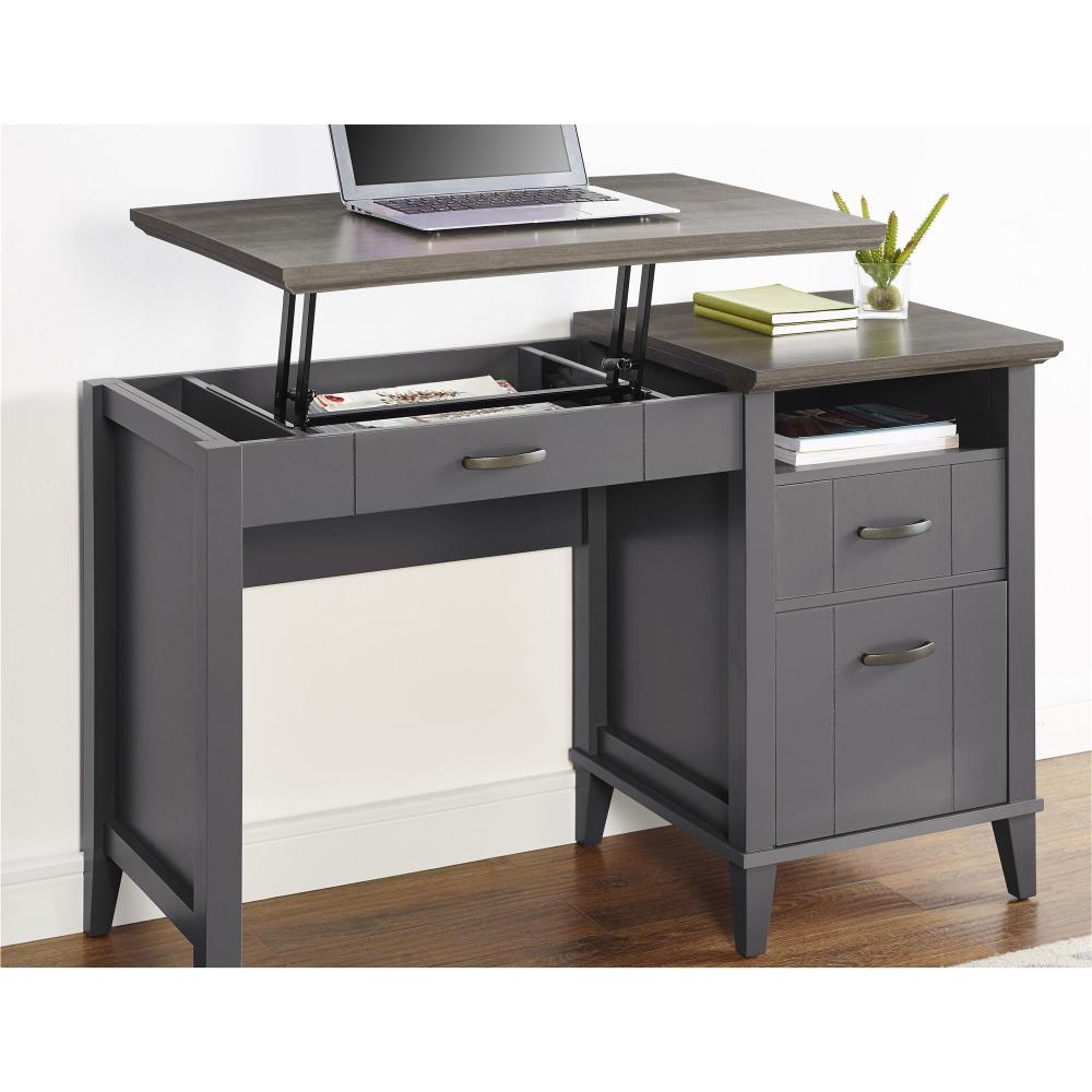 Buy Ameriwood Home Quinn Lift Top Desk Multiple Colors At Walmart Com Grey Desk Adjustable Standing Desk Adjustable Height Standing Desk