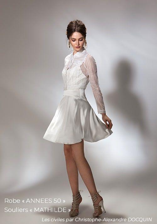 Robe De Mariée Civile Tenue De Mariage Civil Robe Courte En
