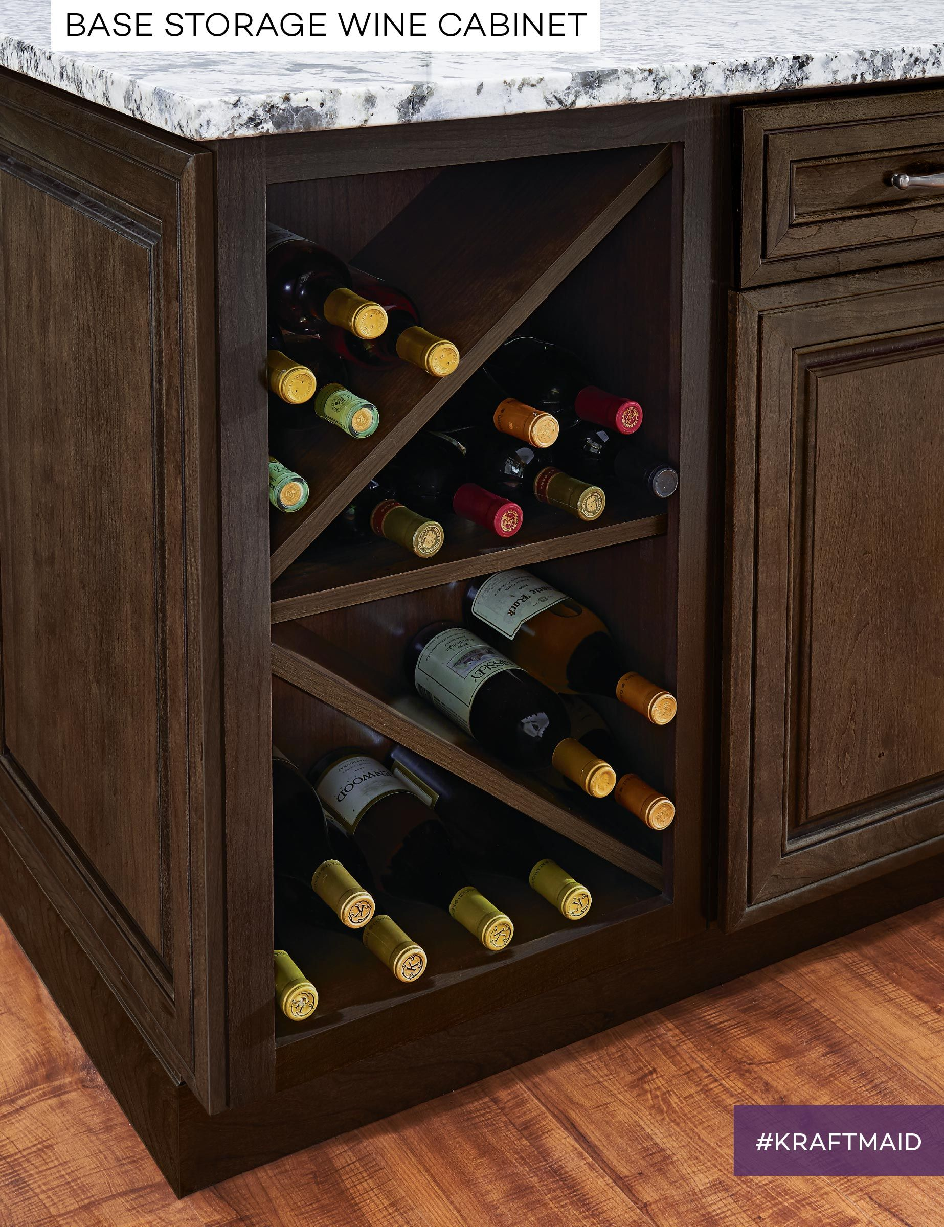 Kraftmaid Wine Storage Doubles As A Convenient Place To Keep Wine And A Sophisticated Touch In Your Kitc Wine Cabinets Built In Wine Rack Wine Storage Kitchen