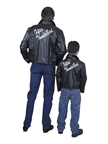 Charades Men\u0027s Fifties Thunderbird Jacket, Black, Large Best - greaser halloween costume ideas