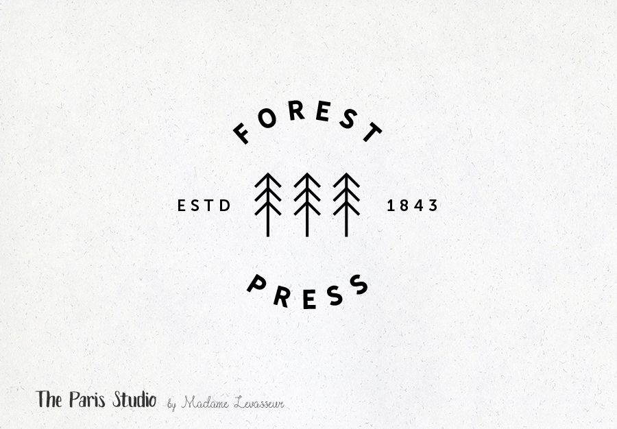 Vintage Badge Tree Logo Design By Madame Levasseur The Paris Studio