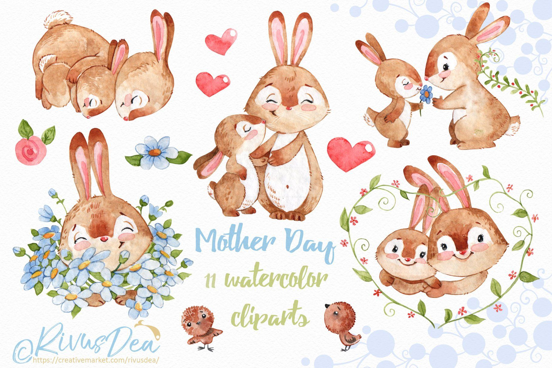 Mother S Day Watercolor Clipart Cute Baby Bunny And Mom Etsy Rabbit Nursery Decor Art Bundle Mom Clipart