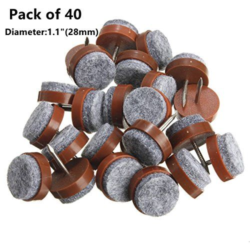 Nail On Furniture Felt Pads Glide Chair Table Leg Protector 28mm Dia Brown 40pcs