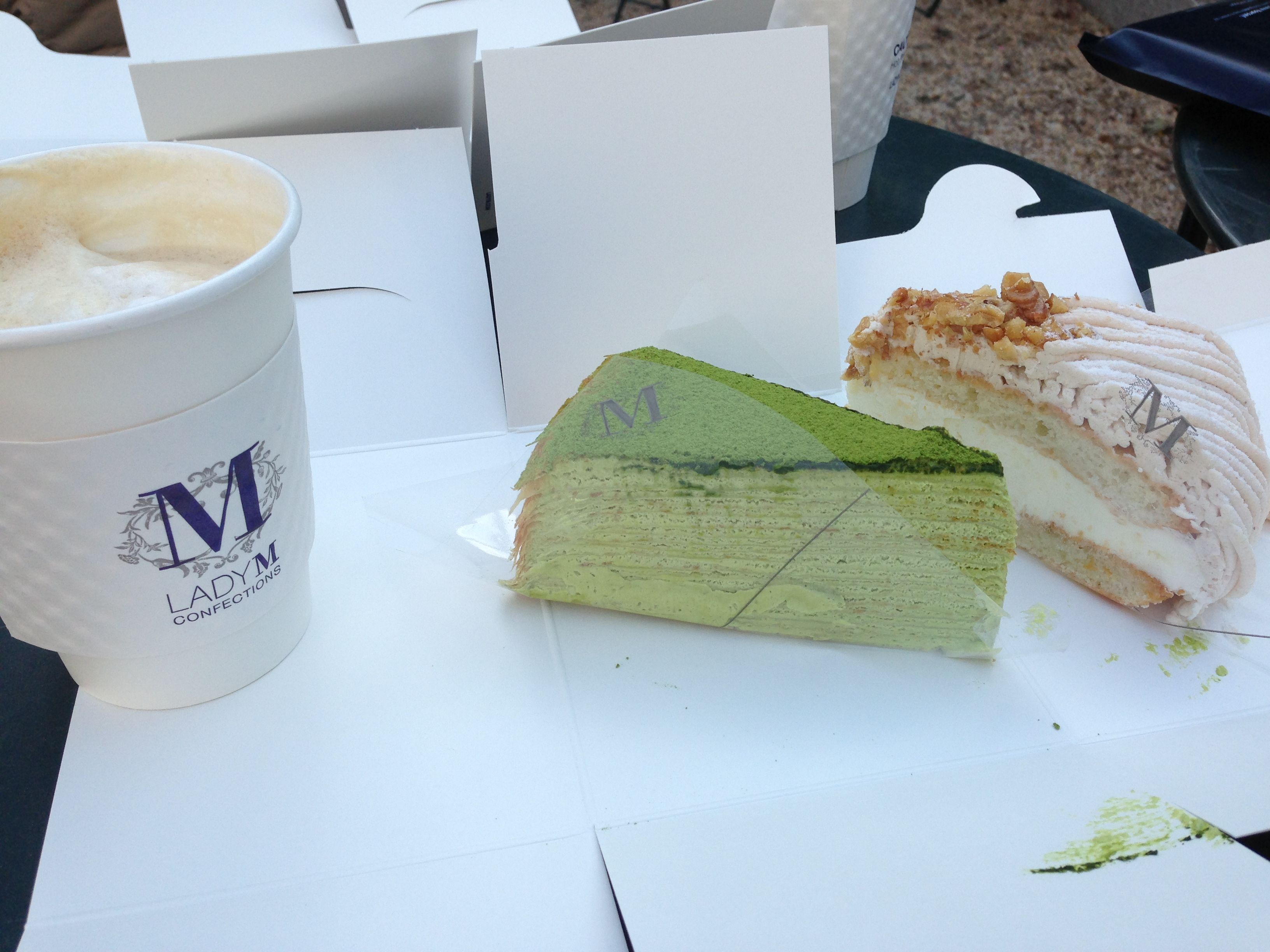 Green Tea Mille Crepe Cake And Chestnut Cake From Lady M 36 W 40th