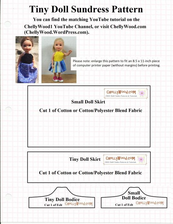 Image shows a doll dress pattern for a \