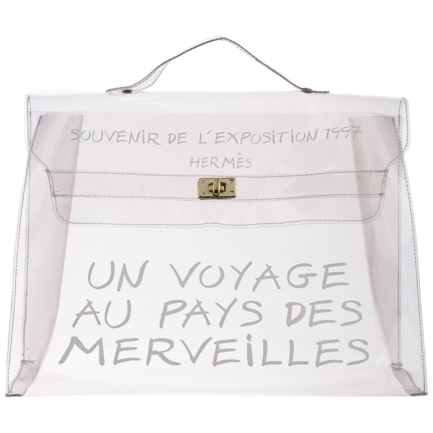 e5bb2bb7769c Hermes Kelly Clear See-Through Carryall Travel Top Handle Satchel Tote Bag