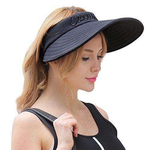 CACUSS Women s Summer Cotton Sun Hat Wide Brim Visor Adju...  f5fc658b6da