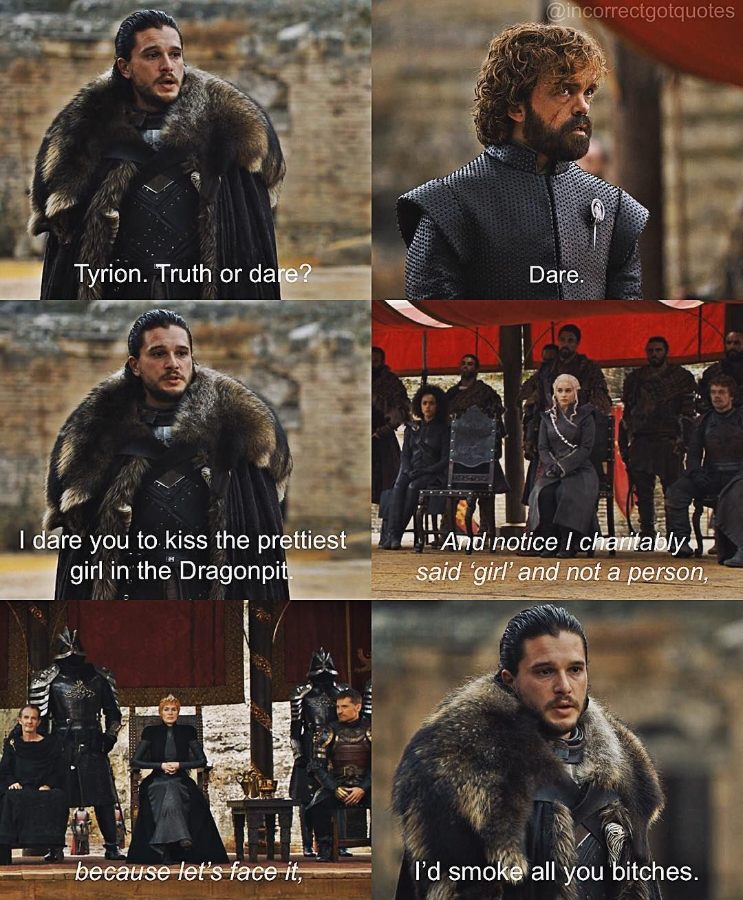 incorrectgotquotes on Instagram Game of thrones funny