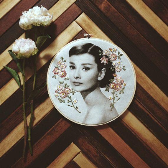 HOOP ART Embroidered Audrey Hepburn Print by NeedleworkSeedlings on Etsy