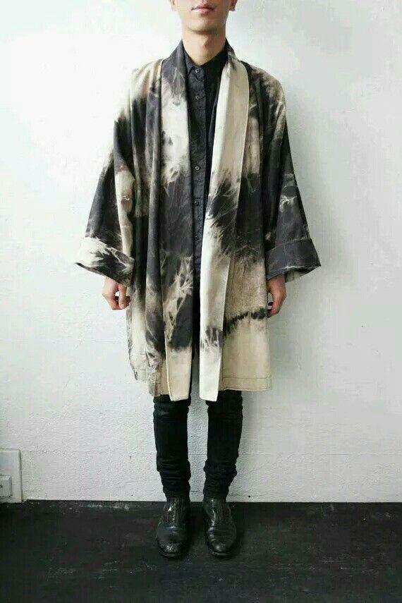 남자 | kimono-style mens coat / jacket, black & white tie-dyed ...