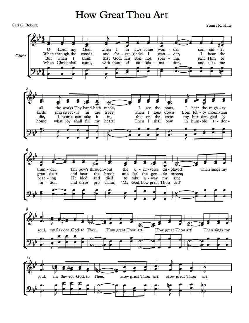 History how great thou art sheet music music