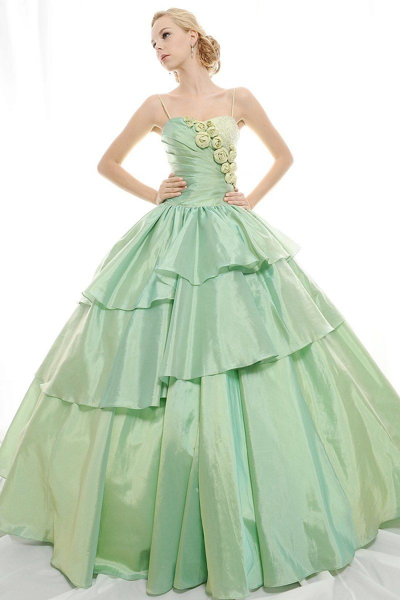 Refresh ball gown spaghetti straps appliques flowers taffeta floor