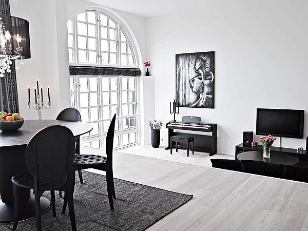 Elegant Black And White Interior Duplex White Interior Black